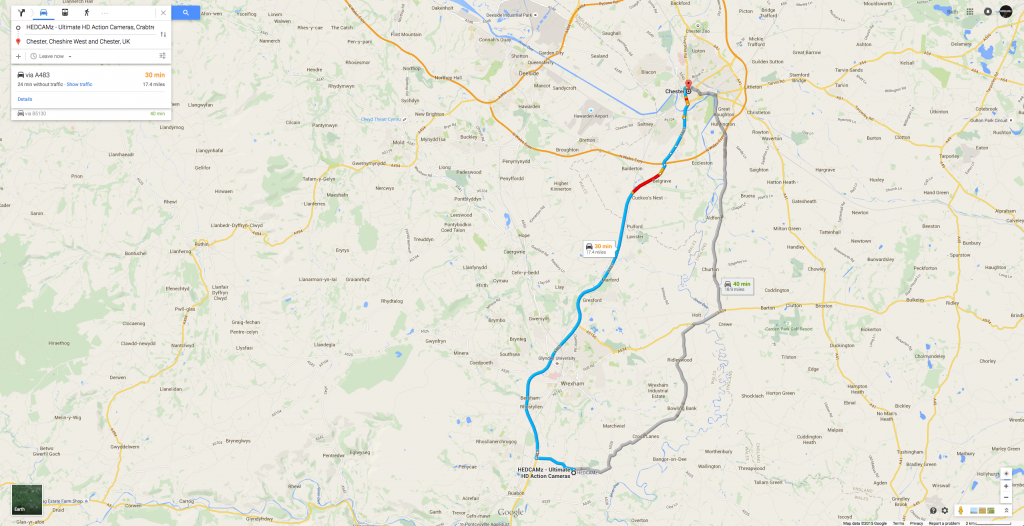 HEDCAMz Map Directions - From (HEDCAMz) Wrexham to Chester