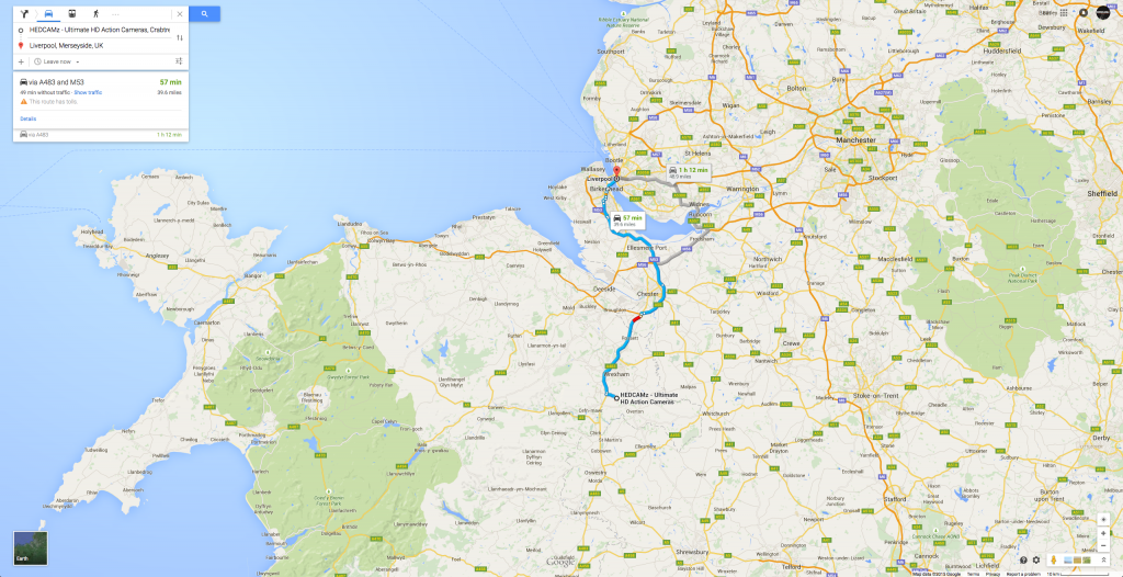 HEDCAMz Map Directions - From (HEDCAMz) Wrexham to Liverpool
